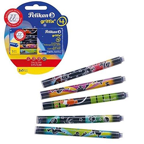 Pelikan Griffix 10 Cartouches illustrées encre Bleu Sport/Espace/Animaux pour Stylo plume/Autres modèles Pelikan