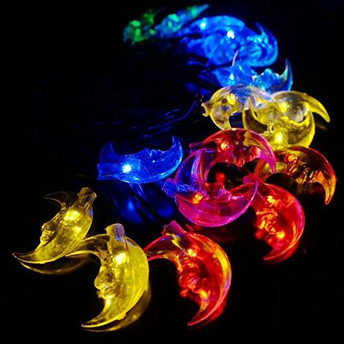 Fairy Moon Led String Lights : LED SopoTek Solar Powered LED Christmas Lights, 6meters 30 LED Moon shaped solar fairy String ...