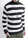 (オークランド) Oakland ケーブル編み ニット セーター ケーブル デザイン カジュアル トップス 編み MODE メンズ ブラック×オフホワイト Mサイズ