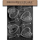Dress My Cupcake DMCV114 Chocolate Candy Mold Heart With Bouquet Lollipop Valentine's Day