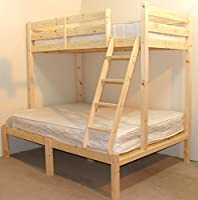Pine Triple sleeper bunk bed - 4ft small double Three sleeper bunkbed - Can be used by Adults - INCLUDES TWO 15cm thick sprung mattresses