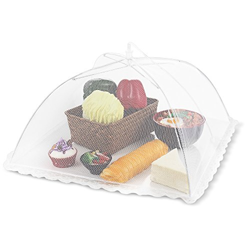 Flexzion Food Cover Tent - Pop Up Mesh Screen Net Umbrella Covers Keep Out Flies, Bugs, Mosquitos, Wasps Pefect for Outdoor Picnic, BBQ, Camping, Fruit Dinner Protection, Reusable and Collapsible (Splatter Targets Cheap compare prices)