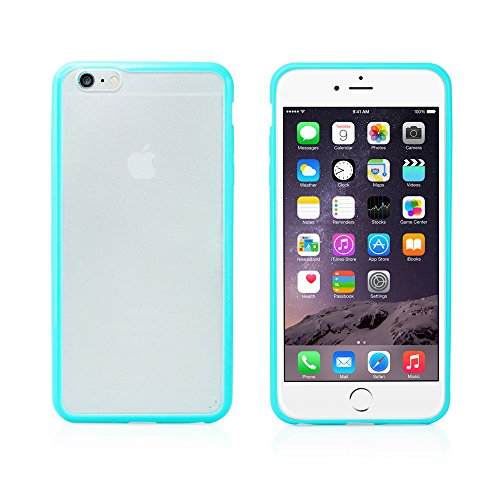 "Gearonic Tm Tpu Silicone Bumper Frame With Matte Pc Clear Hard Back Skin Case Cover For Apple Iphone 6 Plus 5.5"" - Tiffany Blue"