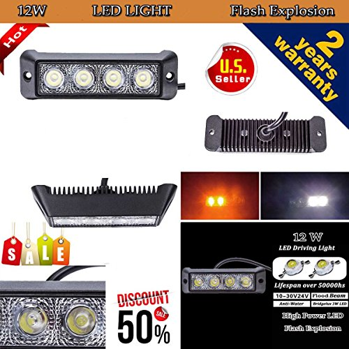 [AUTVIVID 12W Flood LED Flash Strobe Work Light Bar Driving for Jeep Cabin Boat SUV Truck Car ATVS Fishing Deck] (Optimus Prime Costume 2016)