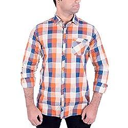 Enovate Men's Slim Fit Cotton Shirt (1003XL_Multi-Coloured_X-Large)