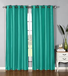 Window Elements Jane Faux Silk 76 X 84 In Grommet Curtain Panel Pair Turquoise