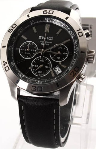 Seiko Black Dial Stainless Steel Mens Watch SSB049P2
