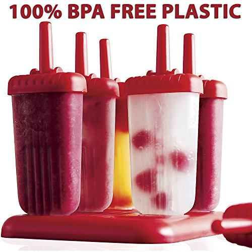 BPA FREE-Ice Pop Molds by Top Choice-Set of 6 Popsicle Molds (RED)-Now You Can Make Your Own Homemade Popsicles With The Best Ice Pop Maker On Amazon ...