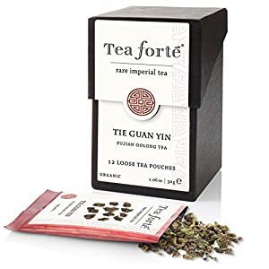 Tea Forte RARE IMPERIAL Organic Tea, Tie Guan Yin Oolong Tea in 12 Single Serve Pouches