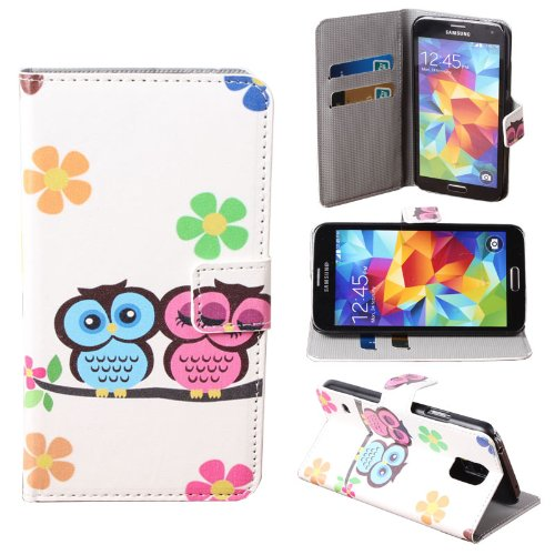 Teenitor(Tm) Cute Two Owl Baby Printed Leather Credit Card Wallet Flip Case For Samsung Galaxy S5 + Screen Protector + Stylu + Earphone Cable Organizer