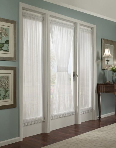 Batiste Sheer French Door Curtain Panel with Tieback by GoodGram® (White, 56