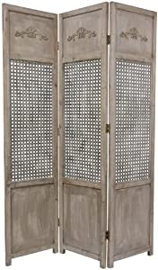 Oriental Furniture Distressed Finish Decorative Floor Screen, 6-Feet Tall Wood and Metal Lattice Design Room Divider, 3 Panel