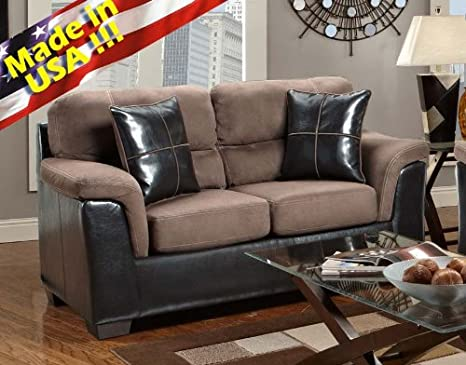 Roundhill Furniture Laredo Brown 2-Tone Loveseat, Chocolate