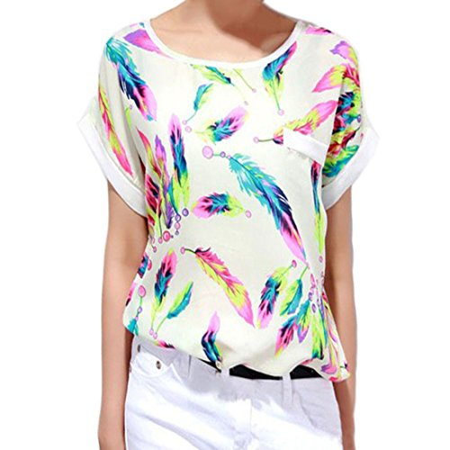 Tonsee® 1PC Women Feathers Chiffon Chemise Blouse Top Casual Short Sleeve Loose T-Shirt (M)