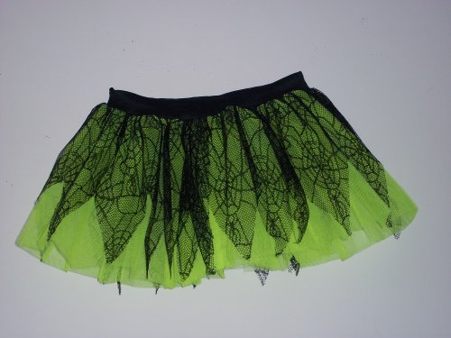 Lime Black Spider Pointed Tutu Skirt Gothic Petticoat Rave Dance