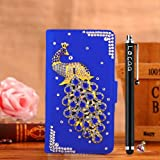 Locaa(TM) HTC Desire 510 HTC510 3D Bling Peacock Case + Phone stylus + Anti-dust ear plug Deluxe Luxury Crystal Pearl Diamond Rhinestone eye-catching Beautiful Leather Retro Support bumper Cover Card Holder Wallet Cases [Peacock Series] Purple case - Dar