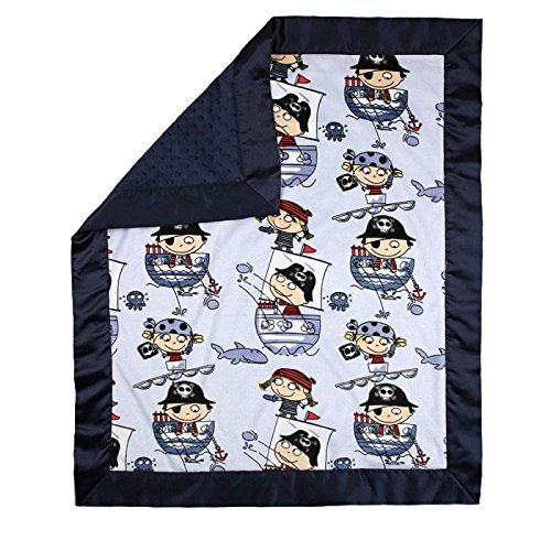 "My Blankee Pirates Minky Blue w/ Minky Dot Navy Baby Blanket, 30"" x 35"""