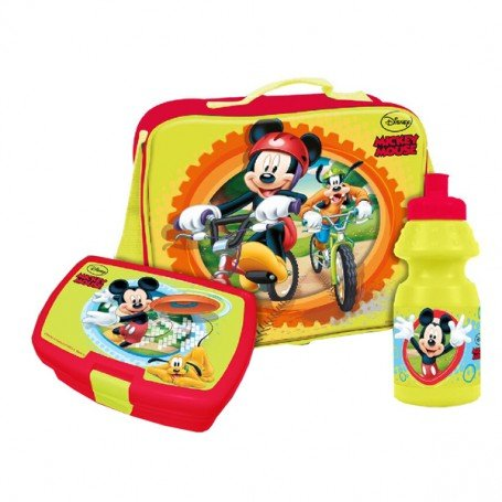 Disney Mickey Mouse Children's Lunch Bag Set - Bag Lunch Box Sports Bottle