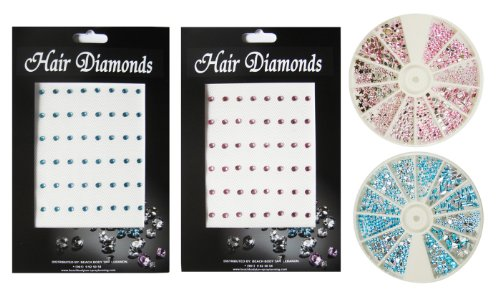 Moyou Baby blue and Light Pink Hair rhinestone+ 1000 Baby blue and Light Pink nail art rhinestones with 12 different shapes.