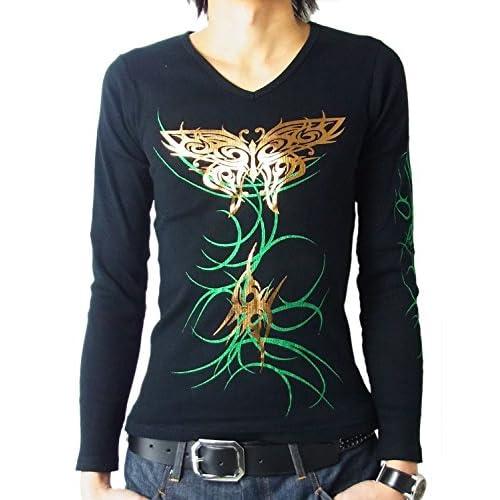 (ビーノ)Beno 長袖 Vネック ロングTシャツ メンズ 長袖Tシャツ ロンT ストリートファッション (M, ブラック/グリーン)