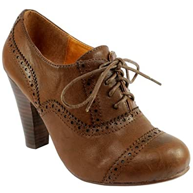 Cool  Brogue Lace Up Ankle Boot Cuban Heels Work Office Shoes UK 39  EBay