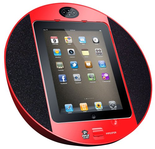 Pyle Home PIPDSP2R Touch Screen Dock with Built-In FM Radio/Alarm Clock for iPod, iPhone and iPad (Red)