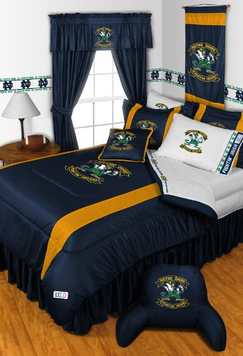 Notre Dame Fighting Irish 7 Pc King Comforter Set (1 Comforter, 1 Flat Sheet, 1 Fitted Sheet, 2 Pillow Cases, 2 Shams) Save Big On Bundling!