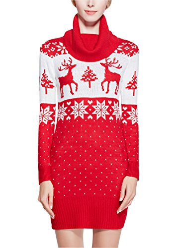V28 Women Christmas Embroidered Knitted Deer Sweater Dress (L, Cowl Red)