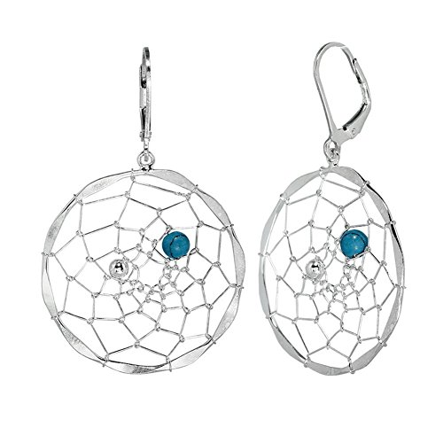 The Dreamcatcher with Blue Bead 925 Sterling Silver Earrings for Women