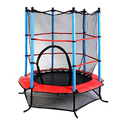 Giantex-Exercise-55-Round-Kids-Youth-Jumping-Trampoline-w-Safety-Pad-Enclosure-Combo