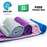 Quick Dry Towel - Lightweight - Highly Absorbent - Compact - Travel - Soft Microfibre - 100% Moneyback Guarantee - Large - Best For Yoga Pilates Bikram Beach Sports Gym And Swimming - Includes *FREE* Storage Bag *FREE* Weight Loss E-Book