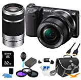Sony NEX-5TL B NEX5TL NEX5T NEX5 Compact Interchangeable Lens Digital Camera with 16-50mm Power Zoom Lens and 55-210 Zoom Lens ULTIMATE BUNDLE with 32GB High Speed Card - Spare Battery - Filter Kit - Mini HDMI cable - Card reader - Case + More!