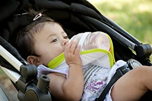 Freehand Bib Baby Bottle Holder - Hands Free Baby Feeding (3Pc Bib Set) Polka Dot Pink