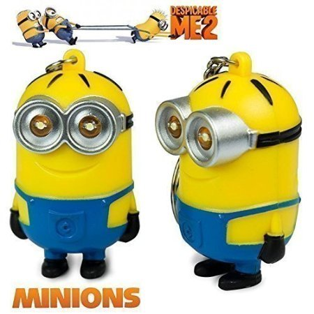 2015 New Minions Toys Cartoon Movie Despicable Me 2 - 3D Dave Character Key Ring with LED Light and Sound Keychain Children Toys