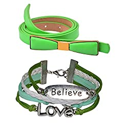 Diovanni Combo of Green Color Bracelet and Belt For Womens