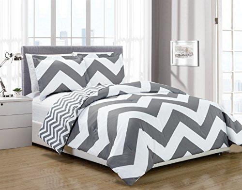 Chezmoi Collection 3-piece Chevron Zig Zag Comforter Bedding Set (Queen, Grey) (Chevron Quilted Comforter compare prices)