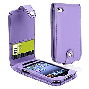 eForCity Leather Case with Card Holder compatible with Apple® iPod touch® 4th Generation, Purple