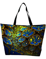 Snoogg Blue Floral Petals Designer Waterproof Bag Made Of High Strength Nylon