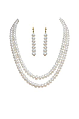 Classique Designer Silver Alloy With Gold Plated Button Pearl Necklace Set For Women(cp004) at amazon
