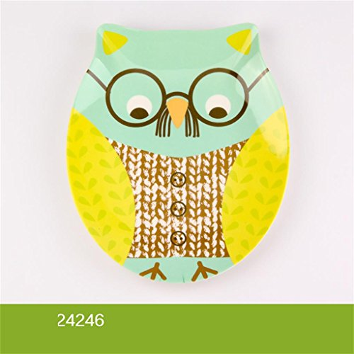 DELLT- Assiette en mélamine Petit déjeuner Cartoon Plate Dessert Plate Owl Creative Snack Plate Assiette de fruits Décoration Plate