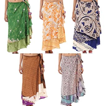 Indian Printed Two Layer Sarong Long Wholesale Lot of 5 Wrap Around Skirt