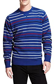 Blue Harbour Extrafine Pure Lambswool Striped Jumper [T30-2124B-S]