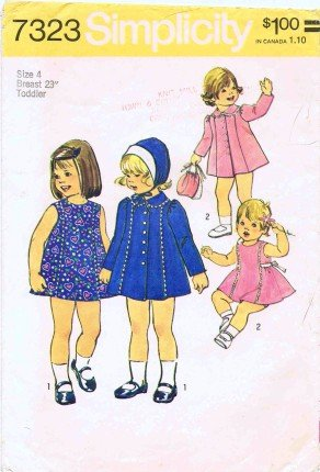 Simplicity 7323 Sewing Pattern Toddlers Girls Dress Coat Hat Size 4 front-843595