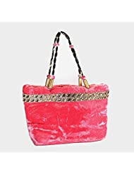 Arisha Kreation Co Women/ Girl Hand Made Hand Bag (Peach/ Pink)