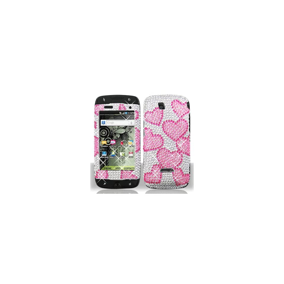 Silver Pink Heart Bling Gem Jeweled Crystal Cover Case for Samsung T Mobile Sidekick 4G SGH T839 Cell Phones & Accessories