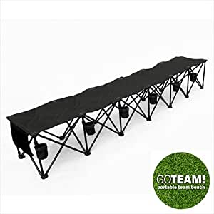 6 Seats Foldable Sideline Bench  Sports Team Camping Folding Bench Chairs Black