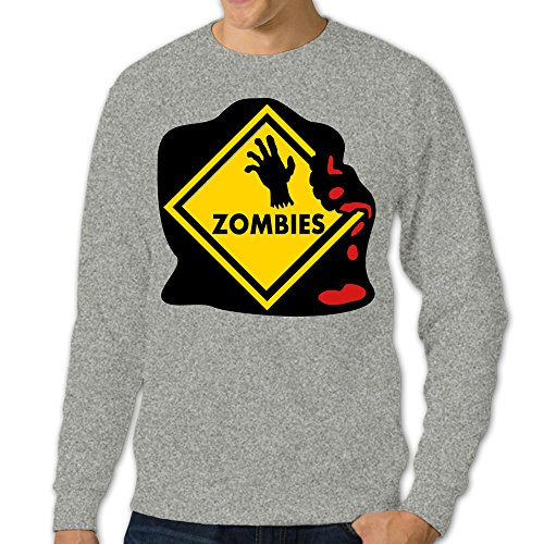 ALIPAPA Men's Long Sleeve Zombies Warning A Skull Hand Sweater Ash Size XL (Kitchenaid Hand Mixer Grey compare prices)