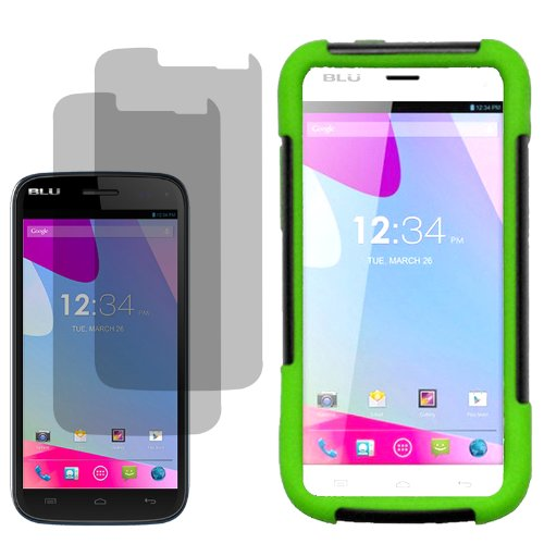 Highest Rated Wireless Inc.Fusion Cover Snap On Case For At&T, T-Mobile, H2O, Net 10Blu Life Play S L150L X2 Fitted Screen Protector-Neon Green