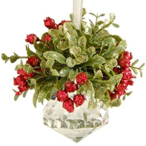 Glittery Hanging Christmas Mistletoe on Acrylic Prism Ornament