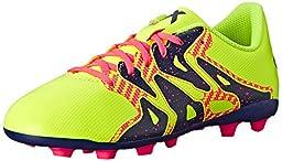 adidas Performance X 15.4 Soccer Shoe (Little Kid/Big Kid), Yellow/Midnight Indigo/Flash Red, 6 M US Big Kid